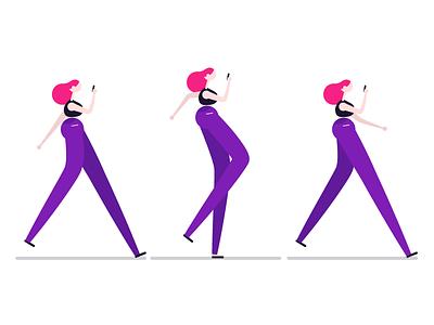 Strut animation character design design female character illustration vector simple