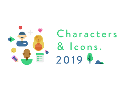 Characters & Icons typography icons character design illustrator design character illustration flat icon vector simple
