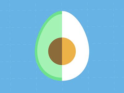 Eggocado animation illustration icon flat vector simple egg avacado