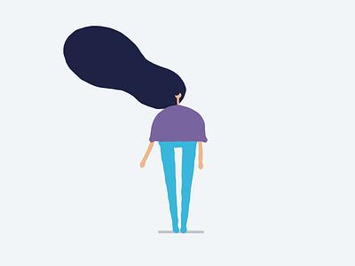 Windy character design animation illustrator female design character illustration flat vector simple