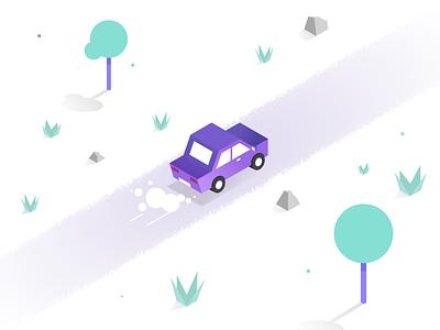Vroom Vroom road isometric car illustrator design flat illustration vector simple