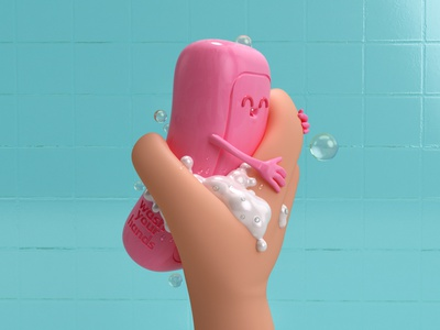 Wash your f*cking hands bath pink bubbles soap characterdesign render 3d c4d covid-19 coronavirus dribbble