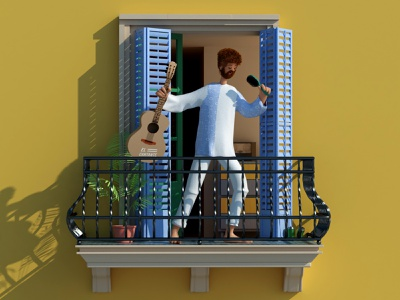 Balconing - the singer 3dcharacter balcony confinement quarantine coronavirus covid19 singer illustration render 3d c4d cinema4d