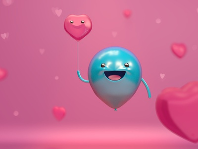 baby Balloon valentine day love photoshop design render dribbble c4d 3d