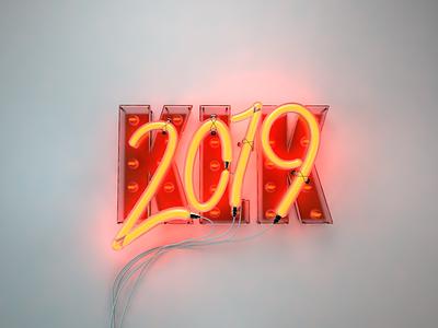 2019 neon render newyear 2019 neon cinema4d 3d