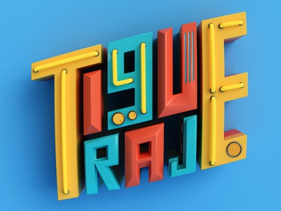 Tigueraje render dribbble retro design retro graphicdesign typography cinema4d 3d