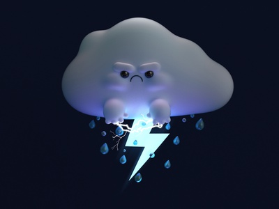 Don't mess with Mr. Stormy 3dcharacter characterdesign rain cloud angry storm weather thunder dribbble cinema4d c4d render 3d