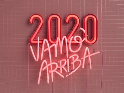 2020 Neon sign 2020 new year graphicdesign design pink neon neon light neon sign illustration c4d cinema4d render 3d dribbble