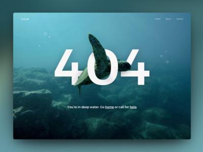Daily UI #008 - 404 Page unsplash ocean turtle deep water page not found 404 page daily ui 008 008 ui daily ui 404
