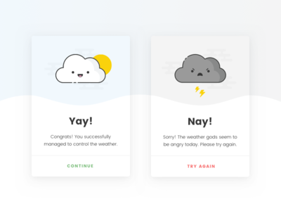 Daily UI #011 - Flash Messages cards message flash success error illustration clouds ui daily ui 011 011 flash messages daily ui