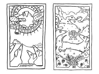 100 days of Tarot Day 15-16 illustration line art sketch tarot