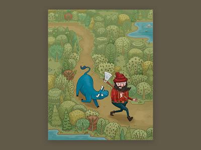 Folktale Week Day 1: Forest lumberjack tree woods forest ox paul bunyan folktale fantasy cartoon character design comic line art illustration