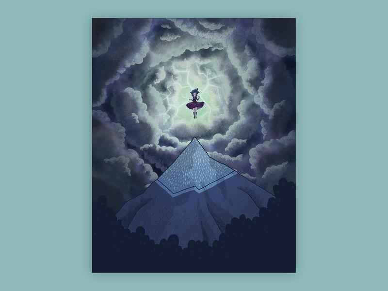 Folktale Week Day 3: Witch folklore folktale storm clouds mountian witch fantasy cartoon comic line art illustration