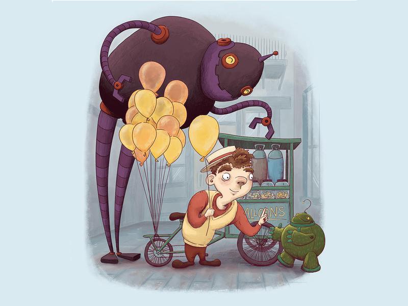 Robots Love Balloons! balloon robot kids art childrens art children book illustration kid lit illustrator character design comic illustration