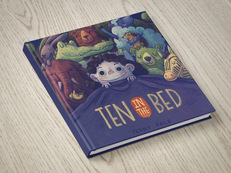 Ten in the Bed hand drawn whimsical childrens childbook book cover illustration toys bedtime book cover design kid art kid lit childrens book childrens art illustration