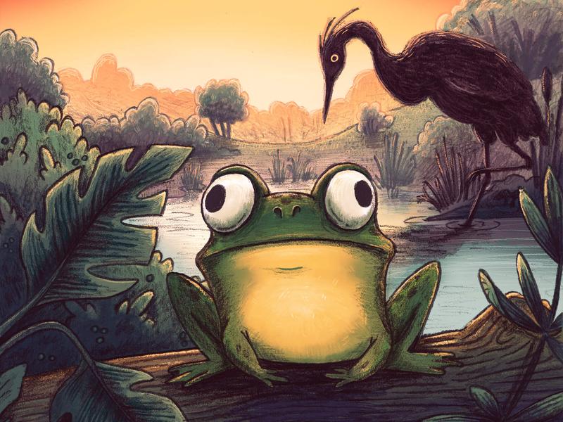 Frog whimsical childrens book childrens art children book illustration heron frog nature illustration nature pond kid lit kid art illustration