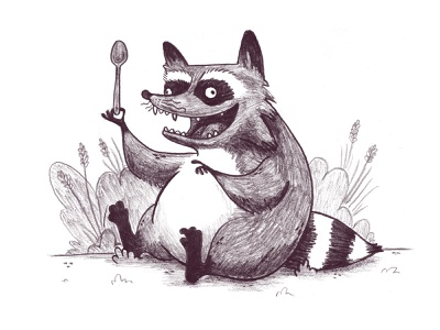 Raccoon & Spoon odd childrens illustration childrens book kids illustration kidlitart kidlit funny whymsical raccoon animal illustration