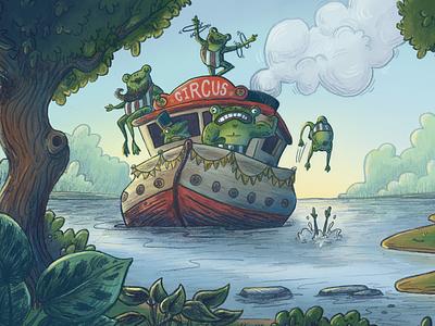 Frog Circus photoshop cartoon fantasy childrens illustration childrens book kids illustration kidlitart kidlit whimsical boat river circus illustration
