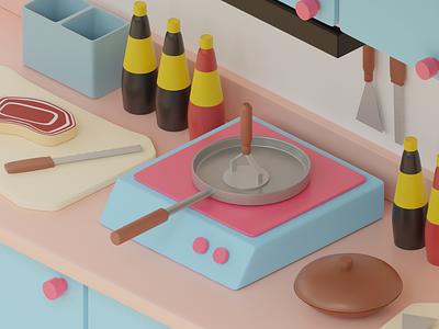 Mini Kitchen illustration design graphic design 3d