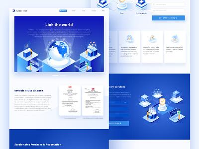 Web design for inVault banner 2.5d illustration finance financial blockchain ui isometric web 张小哈