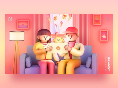 Aha Moment sofa boy girl lover surprise dog ipad home livingroom cute 3d c4d illustration 张小哈