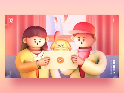 Aha Moment — Detail yellow pink cinema 4d surprise happy dog ipad girl boy illustration 3d c4d 张小哈
