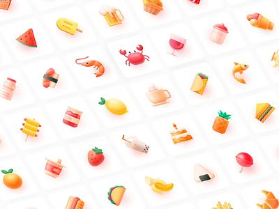 72+ ICONS icondesign icon set sandwich cake wine melon lemon fruits banana peach carb ui food icon icons iconset illustration 张小哈