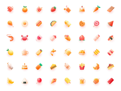 72+ ICONS — Wave cola peach milk icons design icon set icon pack icon design vegetable fruit oranges banana lemon food icon food icons food motion icons iconset icon 张小哈