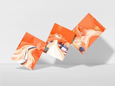 A Tale of Hands - Draft Collection motion design animation motion plant planet dark blue darkblue orange handset hands illustration draft warm 张小哈