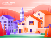 Life in a town — Sunset zhang purple orange village town womans woman dog bell tower sunset illustration 张小哈