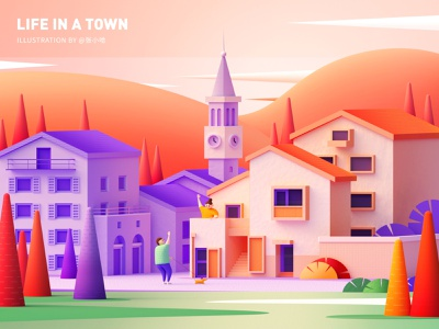 Life in a town - Bells ( C4D ) zhang c4d cinema4d window purple village town architecture dog man woman sunrise mountain bell tower sunset orange illustration 张小哈