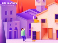 Life in a town - Sunset ( C4D ) - Detail dog architecture bell tower purple orange village town womans woman boy c4d cinema 4d illustration zhang 张小哈