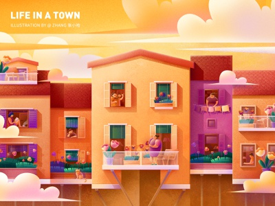 Life in a town - Melody ( PS ) zhang reading music italy architecture design roof window neighbor cat spring sunset violinist violin balcony flower cloud town yellow illustration 张小哈