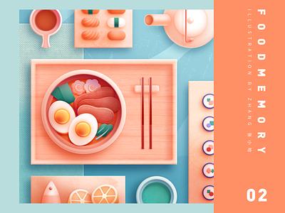 Food Memory — Ramen (PS) illustration meat egg foods eat dining dining table matcha fish lemon sushi chopsticks ramen teapot japan food icons food icon food japanese 张小哈