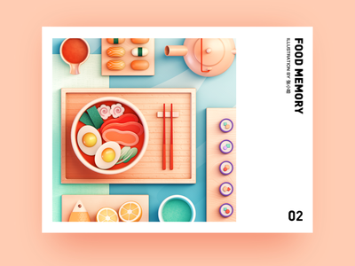 Food Memory — Ramen (C4D) foods sushi teapot fish meat egg topview dinning eat japanese food food ramen illustration 3d c4d 张小哈