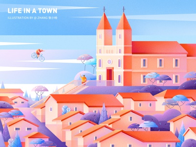 Life in a town - Memory ( PS ) bike photoshop ps orange blue landscape city italy town illustration 张小哈