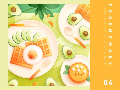 Food Memory — Avocado (PS) eat orange photoshop waffle lemon lemon cake cake dinning breakfast food icons food green yellow zhang illustration 张小哈