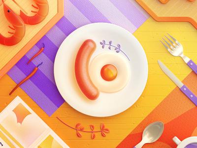 Food Memory — Sausage (C4D) cinema 4d 3d octane oc dinner eat food icons food breakfast egg sausage c4d illustration zhang 张小哈