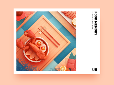 Food Memory — Lobster (C4D) meat lobster dinning eat food icons breakfast pink food 3d c4d zhang illustration 张小哈