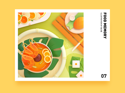 Food Memory — Tom Yam Kung (PS) thaifood oc c4d dinning eat thai 3d food zhang illustration 张小哈
