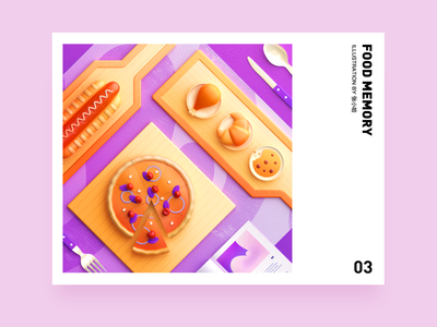 Food Memory — Pizza (C4D) dinning eat breakfast pizza illustration c4d 3d food zhang 张小哈