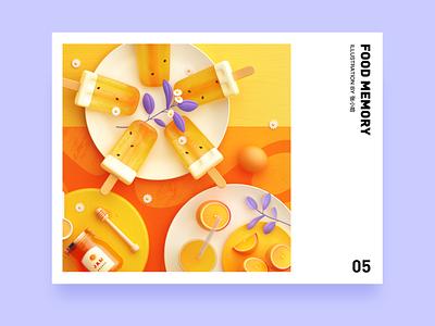 Food Memory — Popsicle (C4D) ice summer yellow dinning eat breakfast orange c4d 3d food zhang illustration 张小哈