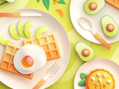 Food Memory — Avocado (C4D) — Detail food icons green cinema4d breakfast 3d food zhang c4d illustration 张小哈