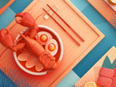 Food Memory — Lobster (C4D) — Detail dinning eat meat foods food icons lobster 3d food zhang c4d illustration 张小哈