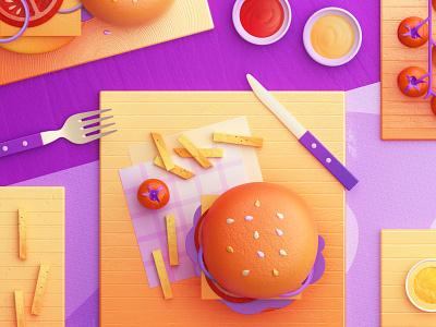 Food Memory — Hamburger (C4D) — Detail food icon food icons fast food breakfast eat hamburger 3d food zhang c4d illustration 张小哈