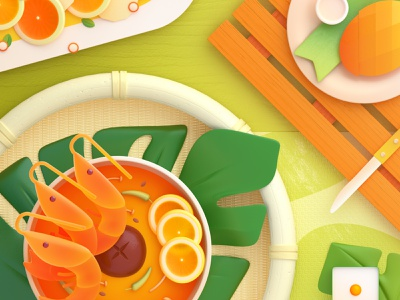 Food Memory — Tom Yam Kung (PS) — Detail 3d food zhang c4d illustration 张小哈