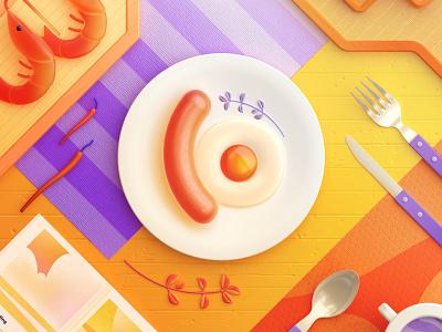 Food Memory — Sausage (C4D) — Detail egg dinning eat breakfast food 3d zhang c4d illustration 张小哈