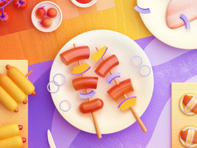 Food Memory — Barbecue (C4D) — Detail food icon food icons breakfast meat 3d food zhang c4d illustration 张小哈