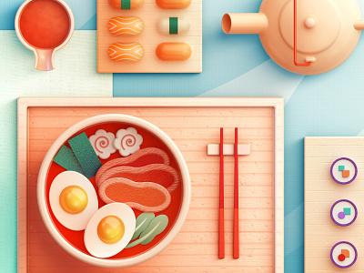Food Memory — Ramen (C4D) — Detail ramen breakfast 3d food icons food zhang c4d illustration 张小哈