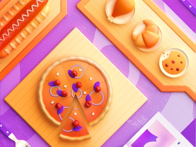 Food Memory — Pizza (C4D) — Detail breakfast pizza food icons 3d food zhang c4d illustration 张小哈